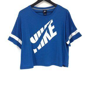 Vintage Cropped Mesh Sleeve Nike Swoosh Blue Shirt